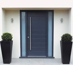 modern front doors. Marvelous Design Of The Black Wooden Front Door Ideas With White Wall Added Pots Modern Doors