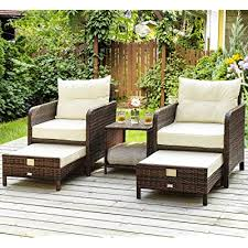 pamapic 5 pieces wicker patio furniture