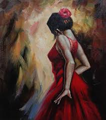 "BeyondDream <b>Oil Painting</b> 24""x20"" Flamenco <b>Girl</b> in <b>Red</b> Dress"