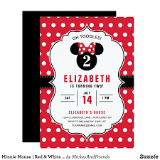 Minnie Mouse Blank Invitation Template Minnie Mouse Red White Polka Dot Birthday Invitation In 2019