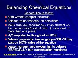 12 balancing chemical equations you will write a balanced chemical equation from a chemical reaction sentence or word problem
