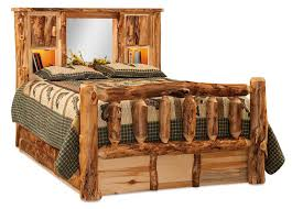Rustic Aspen Log Bed with Bookcase Headboard from DutchCrafters Amish