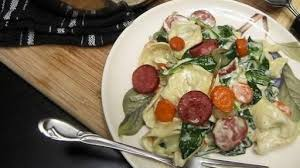 a spoonful of luxe recipe roasted carrot turkey sausage and spinach tortellini with a gruyere cream sauce wral