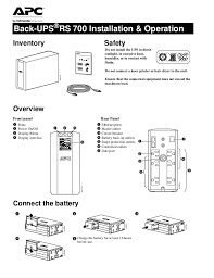 apc back ups pro installation and operation back upsacircreg rs 700 installation operation overview connect the battery inventory safety do