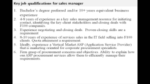 Sales Manager Job Description Youtube