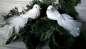 2 Er Set Vogel Aclip Weiß Glitter Christbaumschmuck