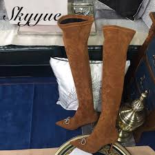 skyyue black khaki genuine leather gladiator over the knee high thigh high boots bowtie slip on