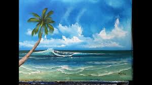 how to paint the ocean with a palm for beginners acrylic