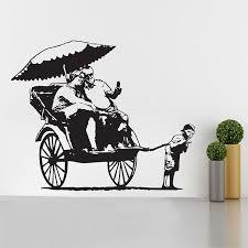 banksy rickshaw kid vinyl wall art decal