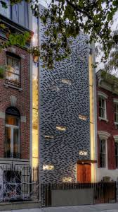 building facade lighting. Urban Townhouse Design With A Metalic Perforated Facade Building Lighting