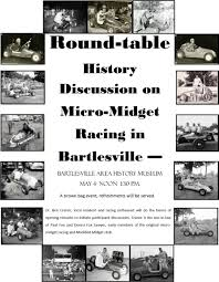 round table history discussion announced on micro midget racing in bartlesville