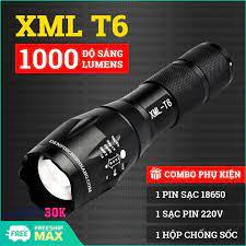 Đèn pin siêu sáng XML-T6 - Đèn chiếu xa -Đèn pin nhật bản XML- T6 Mới siêu  sáng Tặng kèm Pin 18650 mA, Bộ sạc và Hộp Chôngs Sốc - BH 1