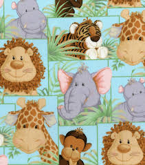 jungle babies nursery cotton fabric patch