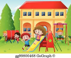 Children Playing On A Playground Clip Art Royalty Free