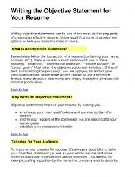 Objective Section Of Resume What Put In The Objective Section Of A Resume Accurate Pics 21