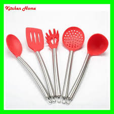 2018 dhl free silicone cooking tools with stainless steel handle for nonstick pots silicone spoon skimmer ladle spaghetti kitchen utensils set from