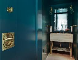 peacock blue furniture. Peacock Blue Powder Room With Brass Washstand Furniture 2
