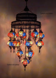 Turkse Lamp 47 Hoogte 18 Glazen Bollen Kroonluchter Plafond Licht Opknoping Lamp Marokkaanse Decor Lichtpunt