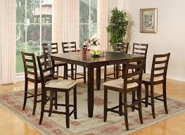 8 Seat Square Dining Table 9 Pc Square Counter Height Dining Table 8 Upholstered Chairs