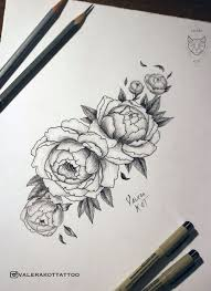 тату эскиз пионы цветы графика татуировка пион идеи моих