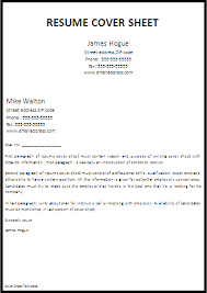 Resume Cover Sheet Examples Classy Cover Page Resumes Resumes Examples Resume Cover Sheet Example
