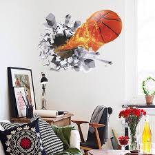 chic quality 3d basketball fire pattern removeable wall stickers colormix