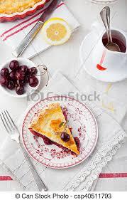 cherry pie slice with ice cream. Brilliant Pie Slice Of Cherry Pie With Ice Cream  Csp40511793 Throughout Cherry Pie With Ice Cream H