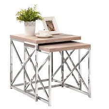 Nesting Tables Amazoncom Monarch Reclaimed Look Chrome 2 Piece Nesting Tables