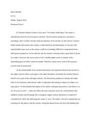 response essay to a very old man enormous wings kayla  2 pages response essay to charlotte perkins the yellow