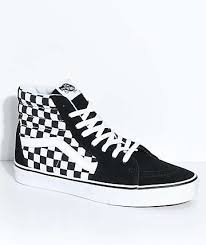 vans shoes red and black high tops. vans sk8-hi black \u0026 white checkered skate shoes red and high tops