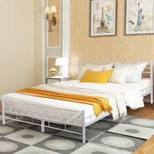 Costway: Costway White Queen Size Wood Slats Bed Frame Platform ...