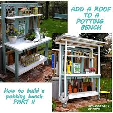 Remodelaholic  How To Build A Potting Bench From Reclaimed Wood Plans For A Potting Bench