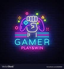 Neon Sign Logo Design Gamer Play Win Logo Neon Sign Logo Design