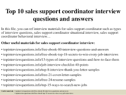 Sales Support Job Description Top 10 Sales Support Coordinator Interview Questions And Answers