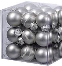mini glass ball ornaments 27pc solids stripes 25mm silver matte