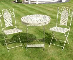 white iron outdoor furniture. Antique White Wrought Iron 3 Piece Bistro Style Garden Patio Furniture Set Of Outdoor H
