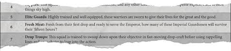 let s generate up an imperial guard kill team to demonstrate firstly we ll roll for the background we ve got a 6 which means our squad is made up of