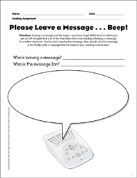Please Leave A Message Reading Response Graphic Organizer