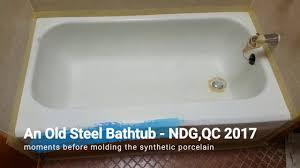 permanent bathtub reglazing eco casting synthetic porcelain resurfacing project montreal qc