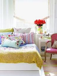 Bedroom Spring Bedroom Decor Ideas With Colorful Bed Cover