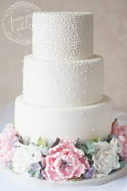 Three Tier Pearl Studded White Wedding Cake Wedding Cakes