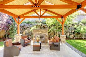 covered patio designs with fireplace. Large Gazebo Patio With Brick Fireplace Situated At The End Covered Designs