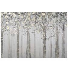 grey and yellow trees printed canvas wall