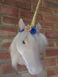 fluffy velveteen fl unicorn head hanging wall mount decoration sparkly