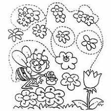 spring pictures to color. Wonderful Spring Bee On Flower In Spring Image To Color Throughout Pictures To MomJunction