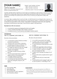 Training Specialist Resume Inventory Specialist Resume Template For Word Word Excel