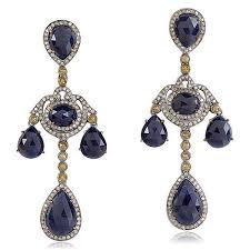 blue sapphire pave diamond chandelier earring