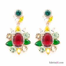 multicolor swarovski crystals flower golden chandelier earrings