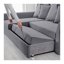 IKEA  HOLMSUND Corner sofabed Nordvalla medium gray  Cover made of  extra durable polyester with a dense textureStorage space under the chaise