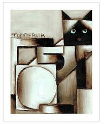 MID CENTURY MODERN Abstract Cat Art Giclee Pencil Signed by Artist Ivy Lowe  - $129.99 | PicClick